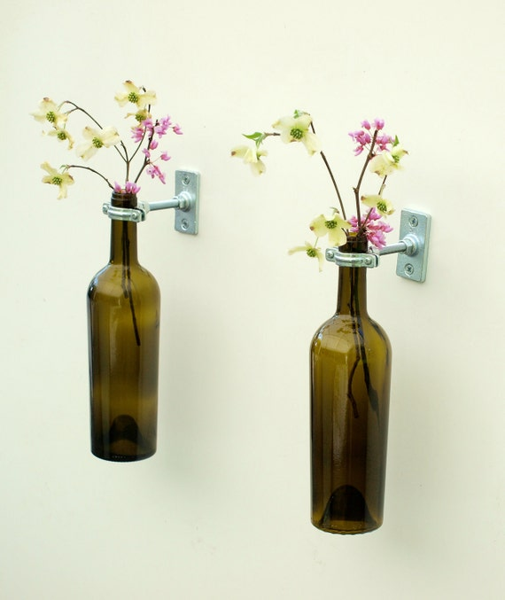 wine bottle wall flower vases hardware only craftjuice