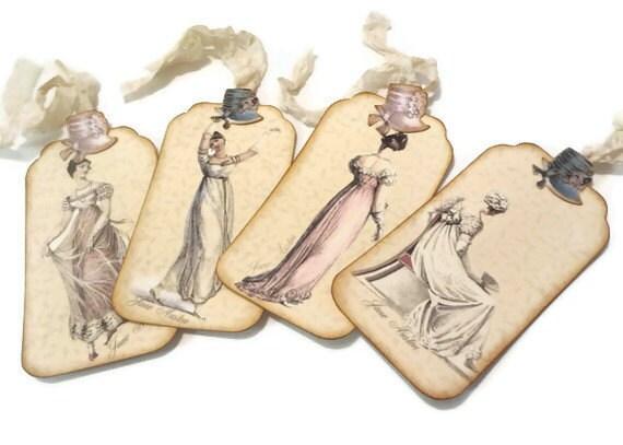 Джейн Остин подарков тегов с Шляпы, Тэги Regency мода, потертые Метки пастели, набор из 4
