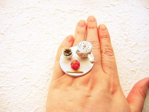 Traditional Japanese Food Ring  Green Tea Wagashi Miniature Food Jewelry
