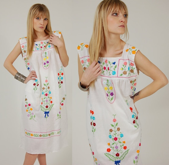 Vintage MEXICAN Dress White Rainbow EMBROIDERED Floral FESTIVAL