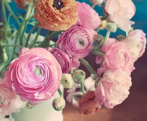 Ranunculus в вазе Фотография 8x10 - Потертый Chic фотография - романтический розовый оранжевый печати цветов