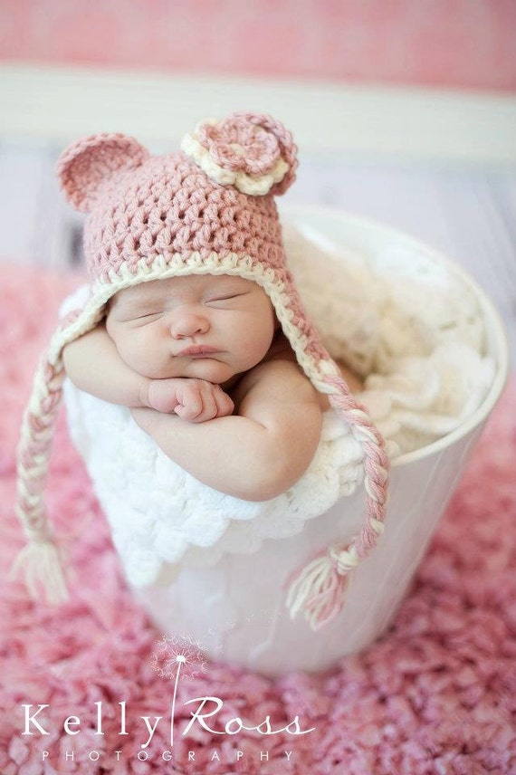 Crochet Baby Beanie Hat with Ears, Earflaps and Flower, Rose and Cream 0-3 Months