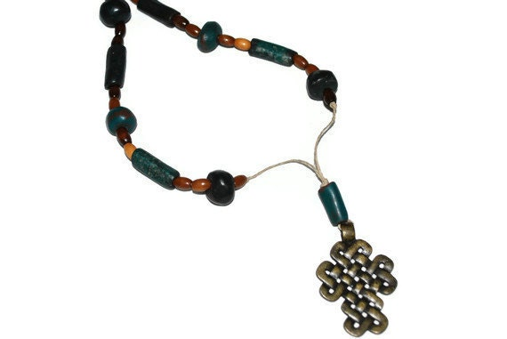 Celtic Inspired Cross Pendant with Chunky Dark teal and wooded beads OOAK necklace