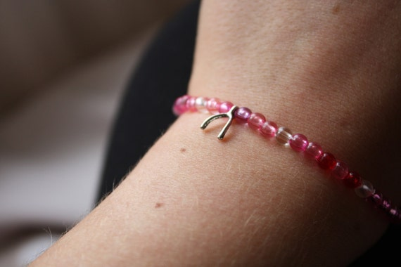 Elasticated Red/Pink/Purple Wishbone Charm Beaded Bracelet