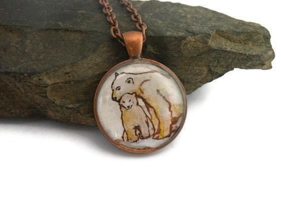 polar bear necklace, hand painted mother and baby animal, mothers day