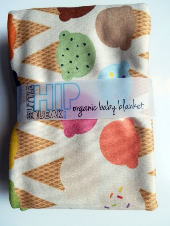 Baby Blanket, Pastel Ice Cream Cones, Organic Cotton Baby to Toddler Blanket