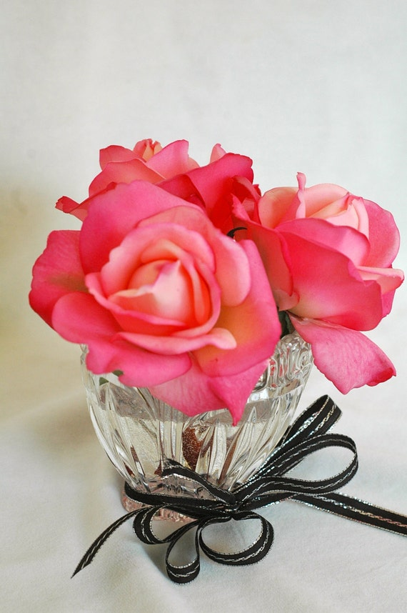 Pink Silk Rose Arrangement in Cut Glass Vase
