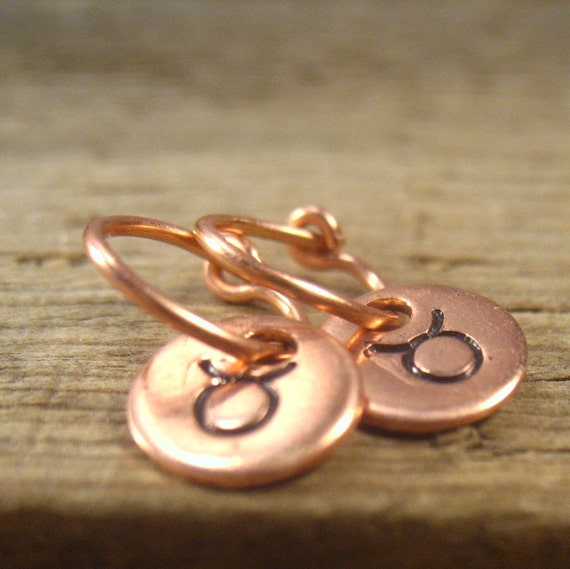 Little Hoop Earrings Astrology Dangles Copper with by MysticMoons from etsy.com
