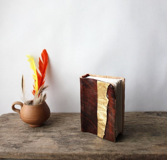 Small leather journal // Brown and Gold stripe