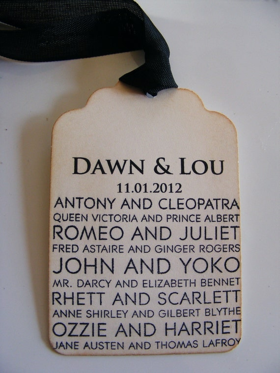 Personalized  Perfect Couple Wedding Love Gift Tags Vintage Style Wishing Tree Hand Stamped  Set of 100