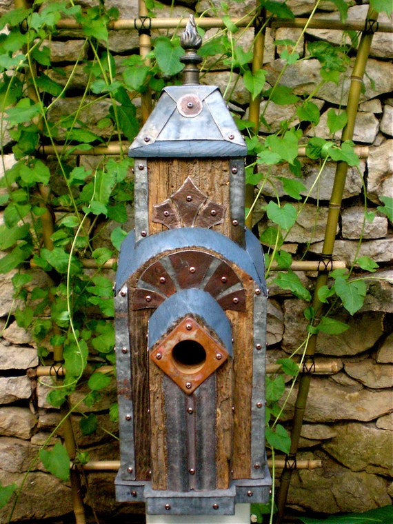 Art Deco Birdhouse Made of Reclaimed Barn Wood and Tin Roofing