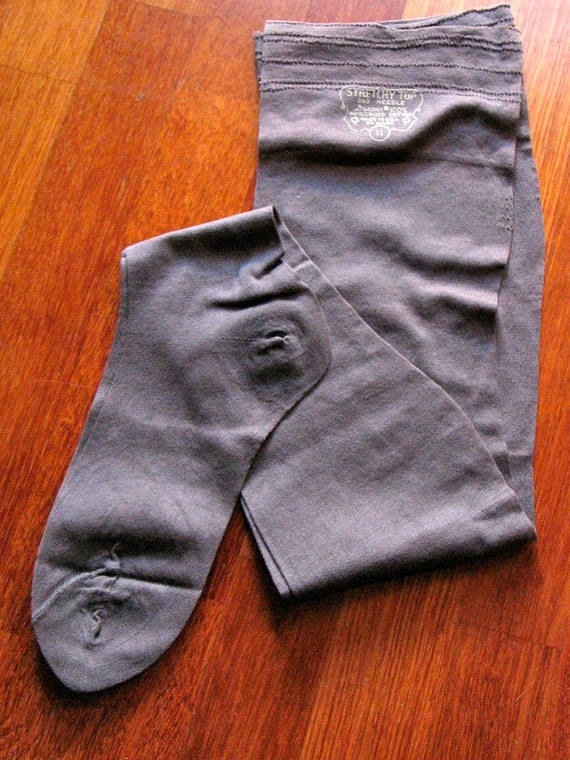 Vintage Late 1940s Seamless Cotton Stockings - MINT