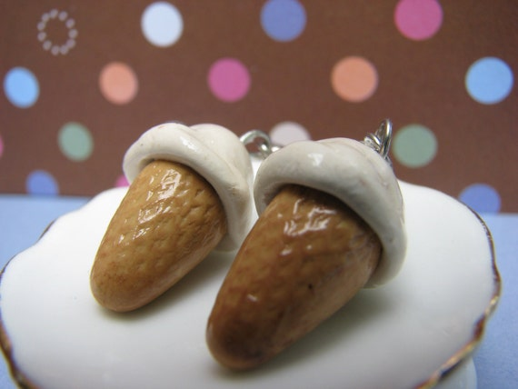 Ice Cream Week- Vanilla Ice Cream Cone Polymer Clay Earrings