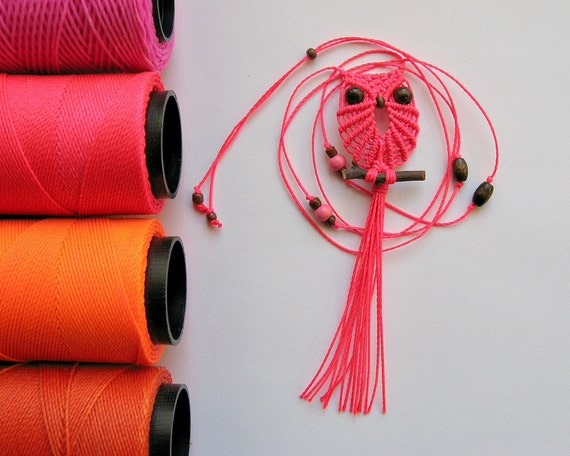 Neon Pink Macrame Owl Necklace