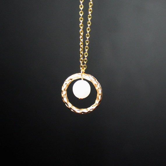 Circle and Pearl Necklace Hammered Circle in gold by smilesophie from etsy.com