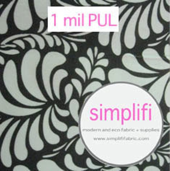 Diaper Cut  (18X20) of 1 mil PUL polyurethane white/black floral print rare print hard to find - low price