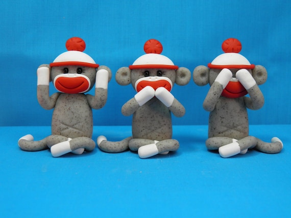 Three Wise Sock Monkeys See No Evil Speak No Evil Hear No Evil Polymer Clay