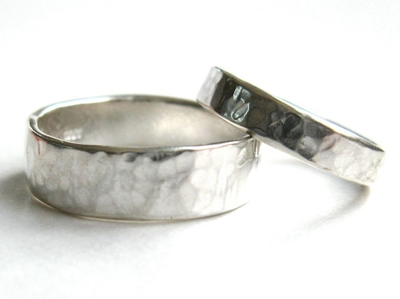 His and Hers Hammered Silver, Wedding Rings