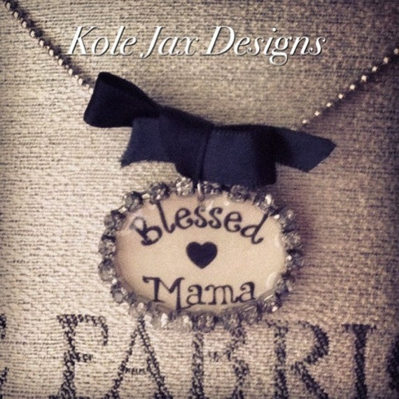 Blessed Mama Rhinestone Pendant Necklace