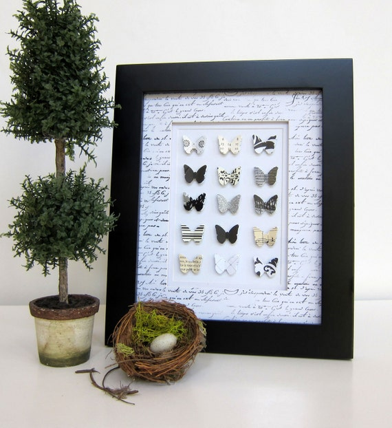 French Shabby Chic Black and White Paper Butterfly Collection Home Decor Cottage Chic