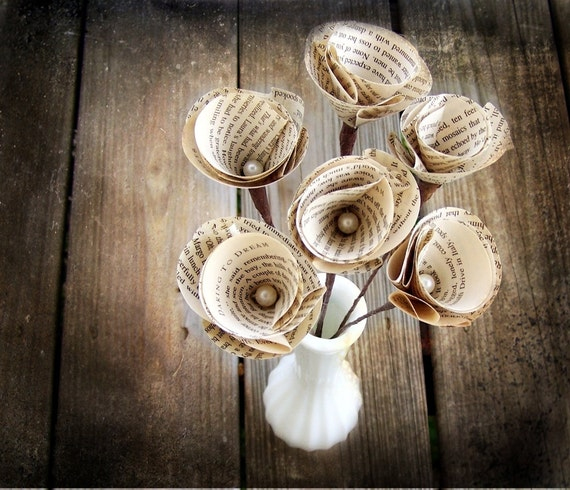 6 Vintage Book Page Stem Flowers -Paper Flower -Eco Wedding -Brown and White Wedding -DIY Wedding Accessory