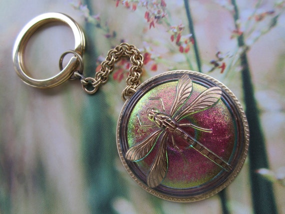 Dragonfly Key Chain Shimmery Green And Fuchsia Handmade Czech Glass