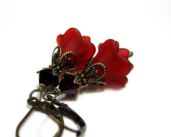 Red, Wine, Siam, Swarovski, Lucite, Flower Earrings