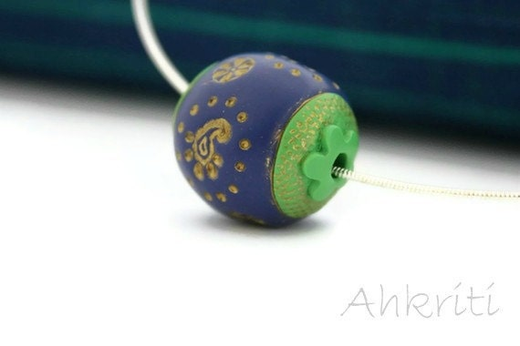 Paisley necklace peacock blue green polymer clay bead