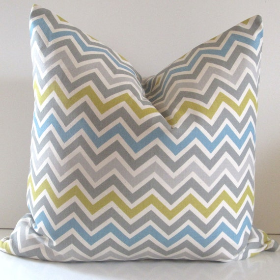 Chevron Pillow Cover - 20 inch - Chartreuse Gray Turquoise and Natural Cotton - decorative pillow - ready to ship