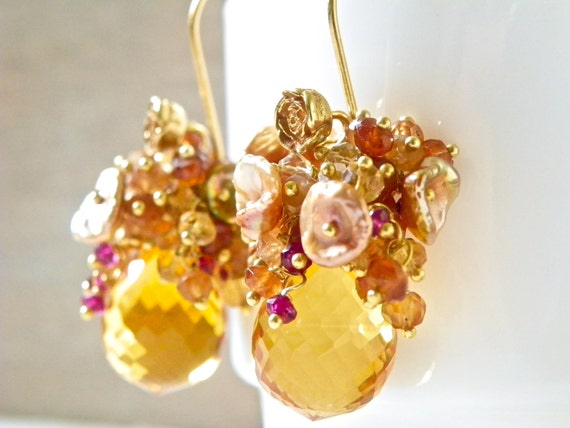 Cluster Earrings with Citrine and 14k Gold. Bright Summer Earrings. Statement Earrings. Free Shipping.