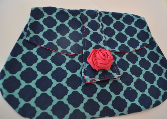 "The ""Claudia"" Clutch - Navy and Teal Moroccan print with bright pink lining"