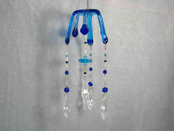 Blue Glass Jellyfish with Crystals