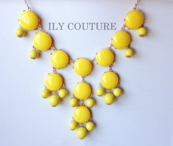 Yellow Bubble Bib Necklace Similar to Jcrew Bubble Statement Necklace