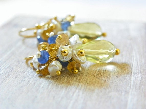 Sapphire Cluster Earrings with 14k Gold, Lemon Quartz and Pearls. Yellow Gemstone Earrings. Nautical Something Blue. Free Shipping,