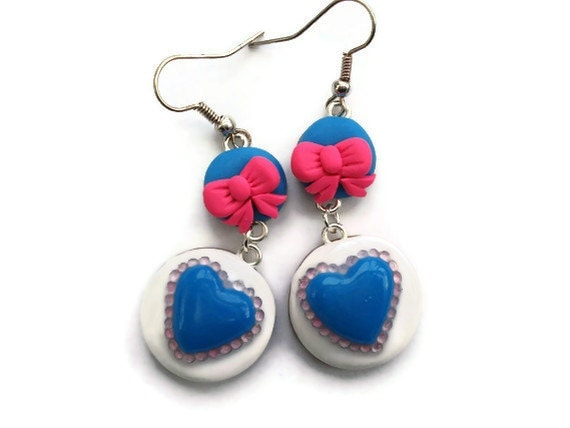Kitsch Dangle Earrings  Hot pink blue and by KireinaJewellery |  Craft Juice from craftjuice.com