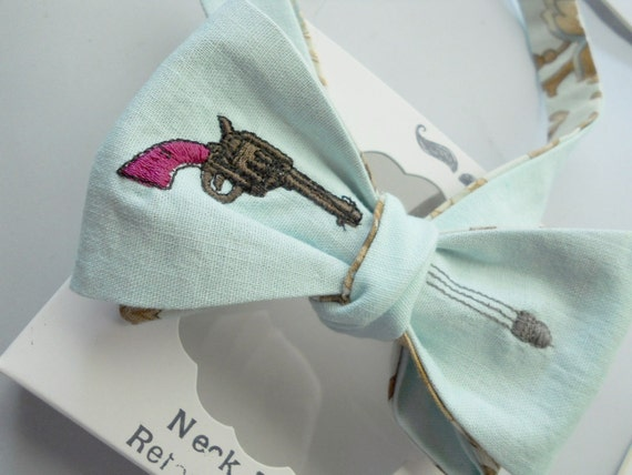 Pistol and Bullet Bowtie in Seafoam Green Linen-Freestyle-Adjustable-Reversible-Hand Stiched