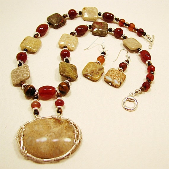 Fossilized coral, carnelian and tiger eye wire-wrapped necklace set