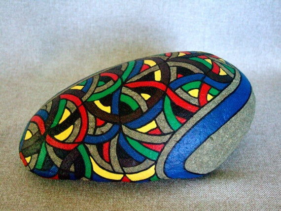 3d Art Hand Painted Rock OOAK Unique Home Office by IshiGallery