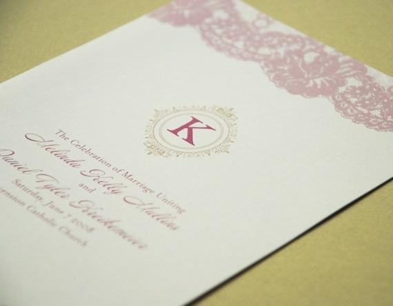 Deposit Custom Pink Lace Wedding Program From beyonddesign