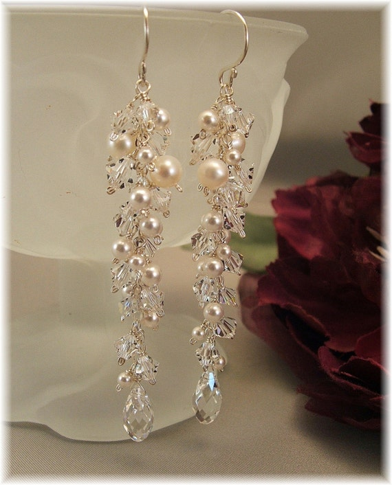 Wedding Day Earrings Icicle Pearl Earrings Long by Handwired from etsy.com