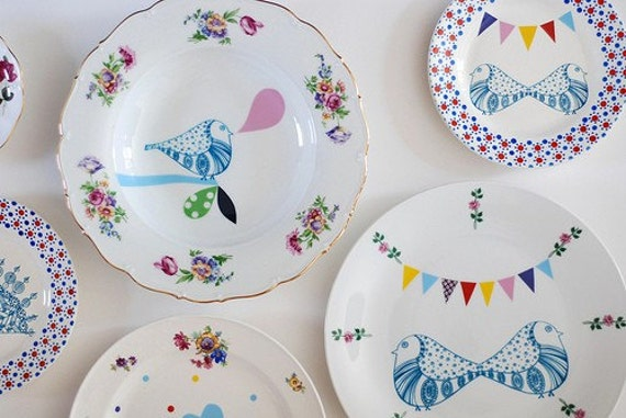 Little bird & bunting plate/saucer