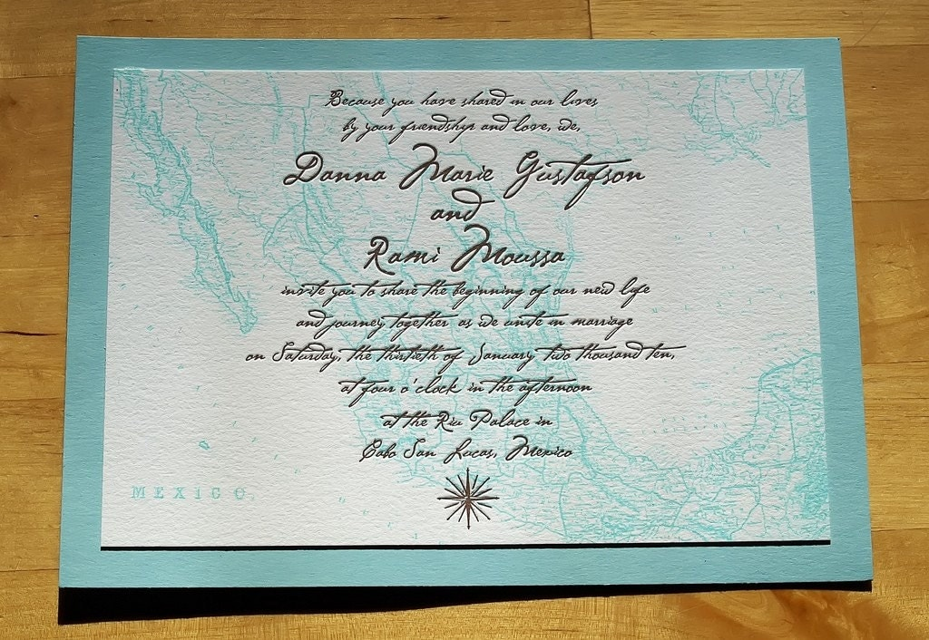 Letterpress Wedding Invitation Vintage Mexico Map From ericksondesign