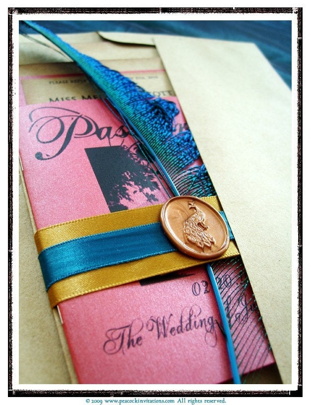GENEVIEVE Travel Themed Passport and Peacock Blue Wedding Invitations Coral