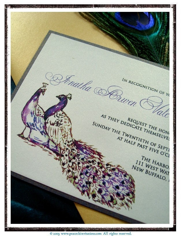 JONATHA Peacock Themed Wedding Invitations in Deep Purple Chartreuse Green