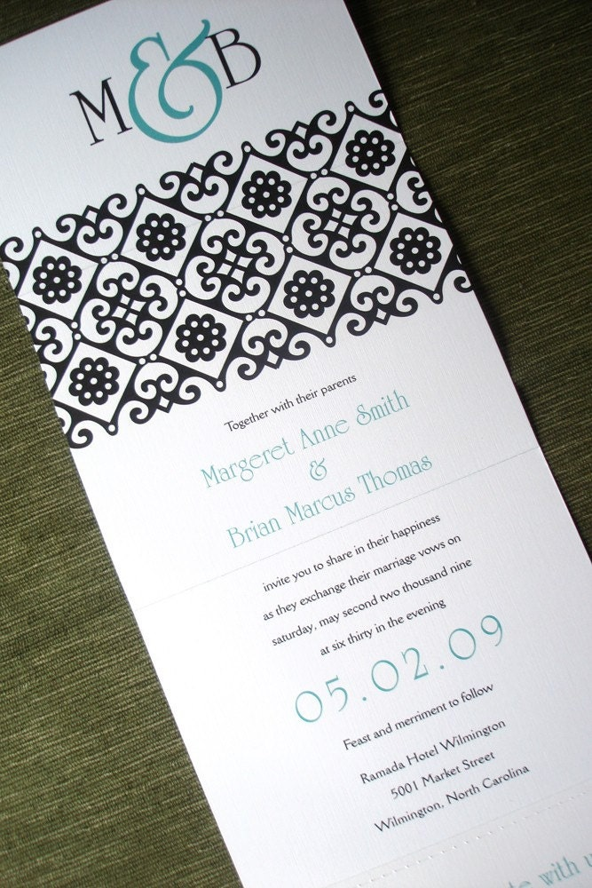 Wedding Invitation Linen Ornate Teal and Black Pattern Seal and Send