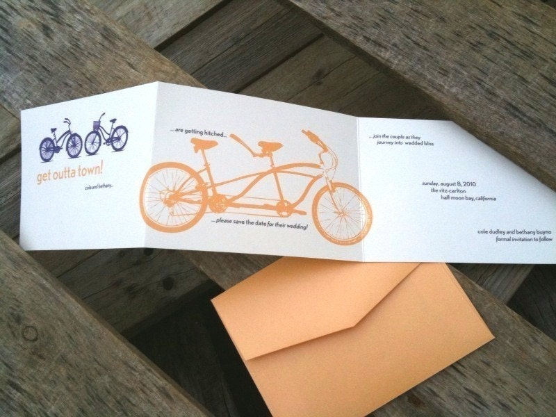 Bicycle Built for Two TriFold Wedding Invitation From SugaredInk