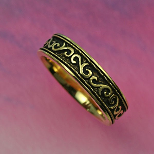 Wedding Band with SCROLL AND MILLGRAIN 6mm width in 14k yellow or white