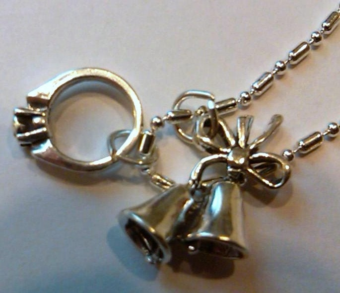 FREE SHIPPING 1 Sterling Silver Wedding Bells and Ring pendant on a S P