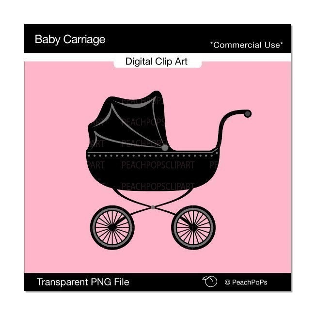 Baby Carriage cute digital clip art chic design element baby buggy
