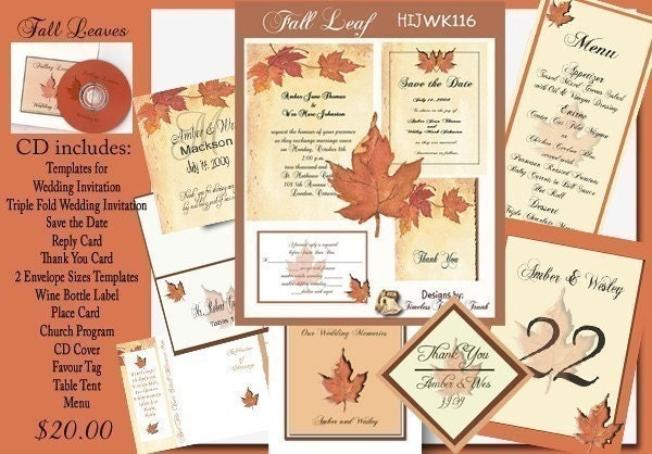 Delux Falling Leaves Wedding Invitation Kit on CD